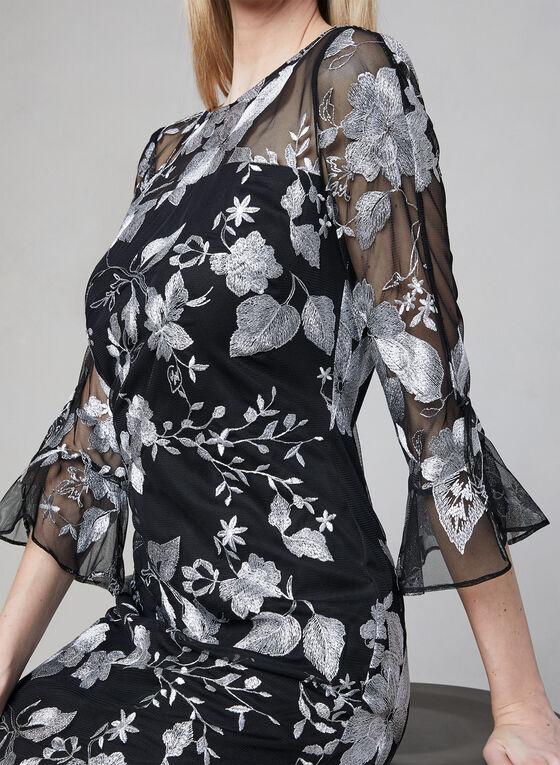 Karl Lagerfeld Paris - Embroidered Mesh Dress, Black, hi-res