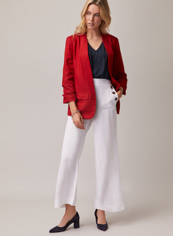 Linen Wide Leg Pants, White,  pants, wide leg, button, pockets, linen, spring summer 2020