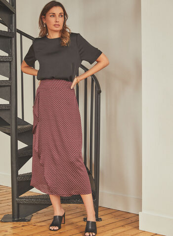 Vince Camuto - Geometric Print Skirt, Black,  skirt, midi, geometric print, wrap, flounce, spring summer 2021