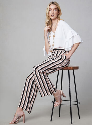 Stripe Print Palazzo Pants, Red, hi-res