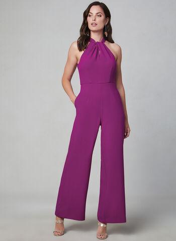 Julia Jordan - Halter Neck Jumpsuit, Red, hi-res,  Julia Jordan, jumpsuit, stretch crepe, wide leg, halter neck, sleeveless, fall 2019, winter 2019