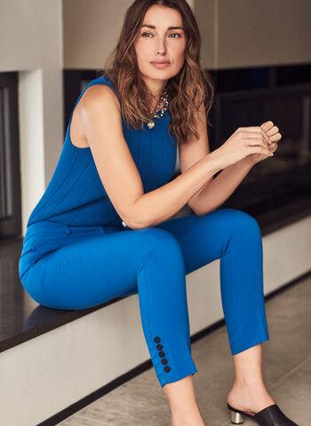 Haut sans manches en tricot côtelé, Bleu,  haut, sans manches, col ras-du-cou, tricot, pointelle, printemps été 2021