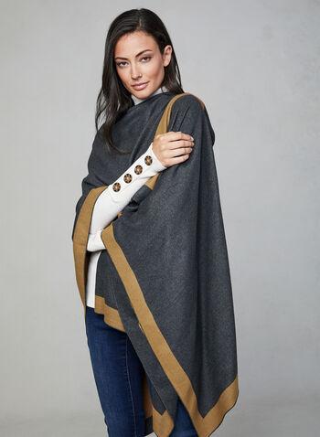 Poncho réversible à deux tons, Gris, hi-res,  automne hiver 2019, poncho, foulard, ruana, réversible, bi-ton