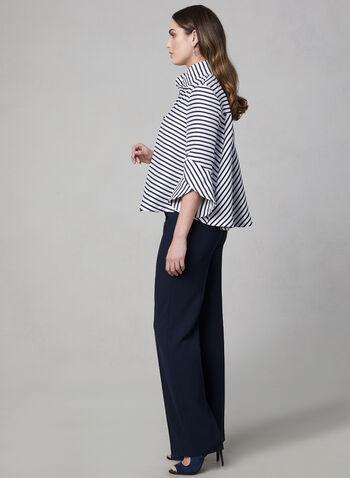 Joseph Ribkoff - Stripe Print Tulip Sleeve Jacket, Blue, hi-res,  ¾ sleeves, spring 2019, canada