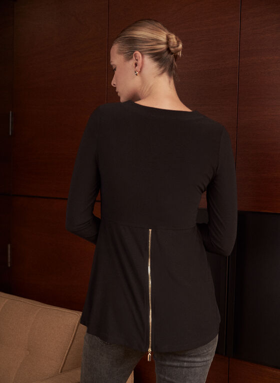 V-Neckline Zipper Detail Tunic, Black