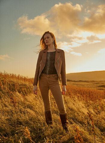 Vex - Faux Leather Zipper Detail Jacket, Beige,  jacket, faux leather, zipper detail, notched collar, fall winter 2020