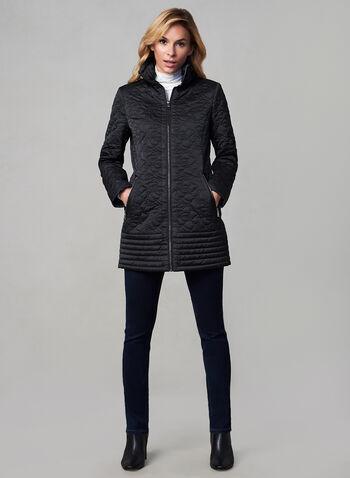 Karl Lagerfeld Paris - Manteau matelassé zippé, Noir, hi-res,  manteau, matelassé, zip, manches longues, fleurs, poches, automne hiver 2019