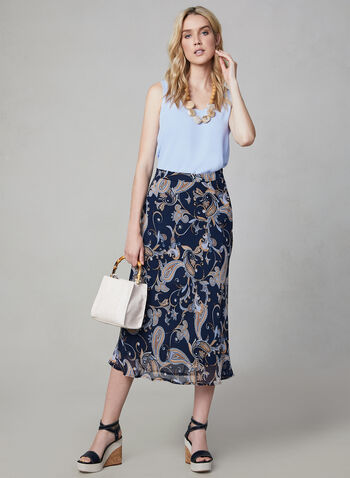 Paisley Print Skirt, Blue, hi-res
