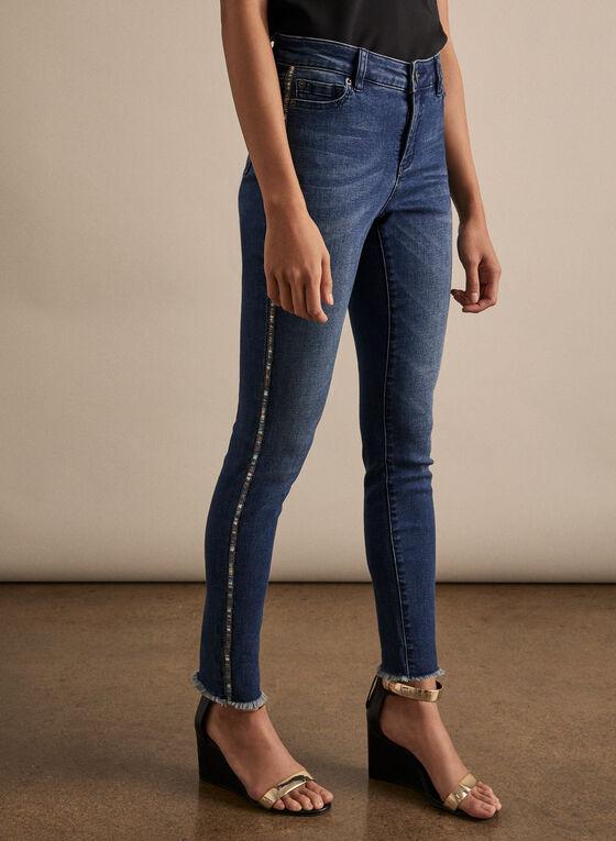 Jeans à ourlet frangé et bandes ornementées, Bleu