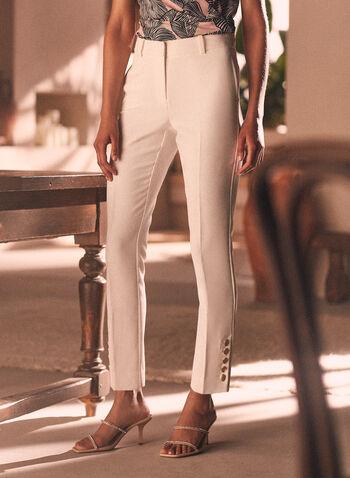Pantalon Giselle à ourlet boutonné, Blanc cassé,  pantalon, giselle, jambe étroite, poches, boutons, printemps été 2020