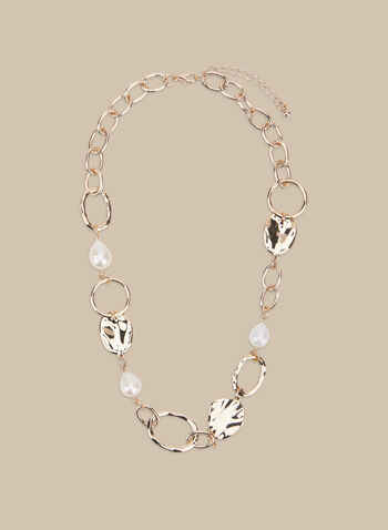 Metal & Pearl Necklace, Off White,  spring summer 2020, chain necklace, pearl, metallic