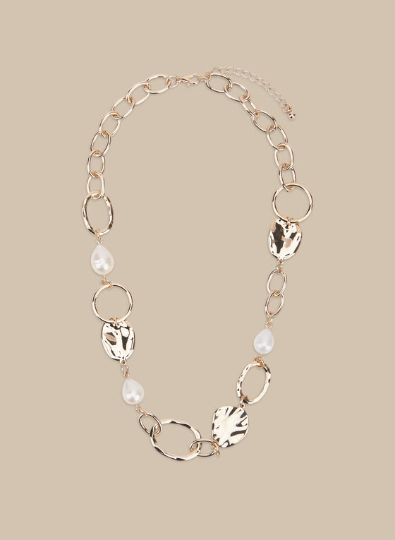 Metal & Pearl Necklace, Off White