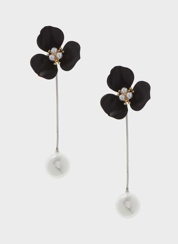 Boucles d'oreilles avec fleurs et perles, Noir, hi-res