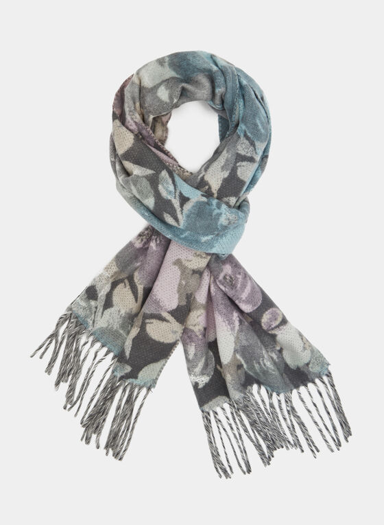 Knit Fringe Scarf, Grey, hi-res