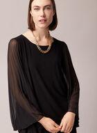 Pleated Sleeve Straight Dress, Black