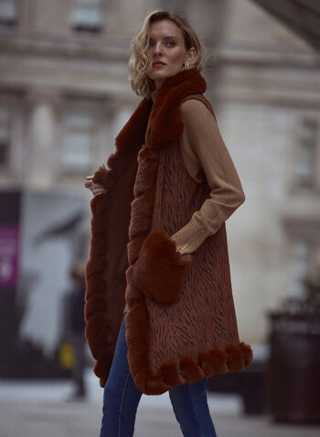 Sleeveless Faux Fur Trim Vest, Brown,  fall winter 2021, accessories, warm, cozy, blanket, poncho, faux fur, fur detail, sleeveless, trim, pockets, abstract, burnout, printed, vest, poncho