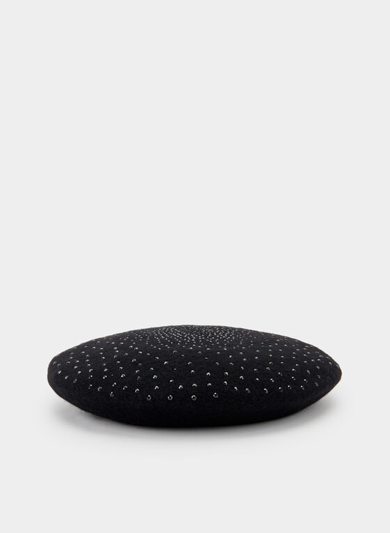 Embellished Wool Beret, Black, hi-res