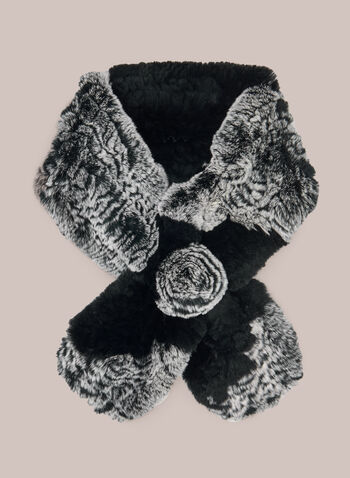 Rabbit Fur Pull-Through Scarf, Black,  scarf, rabbit, rosette, fur, pull-through, fall winter 2020