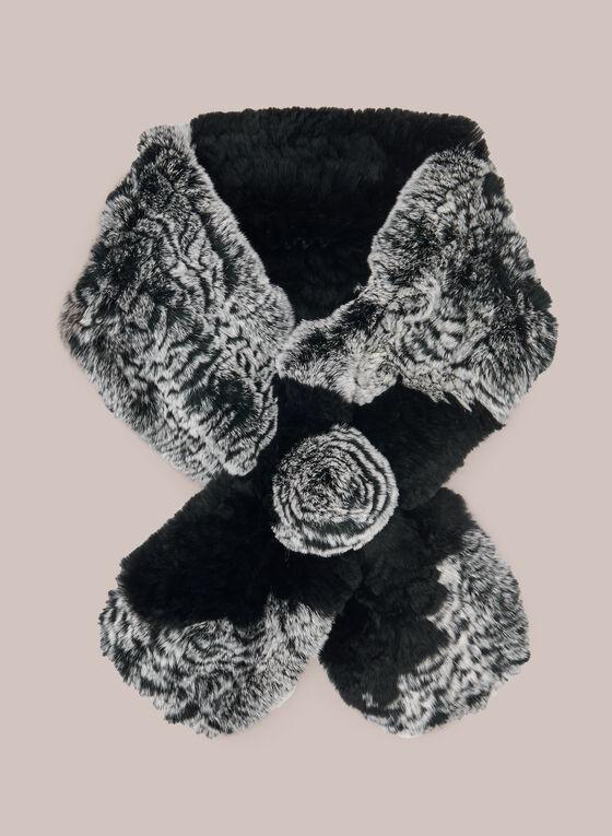 Foulard en fourrure de lapin , Noir