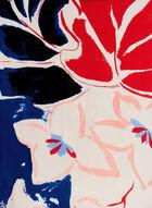 Abstract Floral Leaf Print Scarf, Blue, hi-res