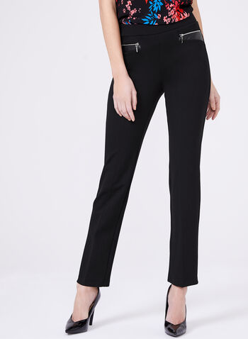 Pantalon pull-on point de Rome avec détails similicuir, Noir, hi-res