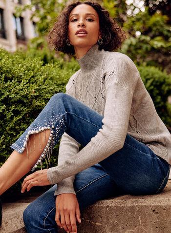 Pearl Detail Jeans, Blue,  fall winter 2021, denim, jeans, pants, bottoms, embellished, details, beads, stones, slits, mid rise, slim fit,