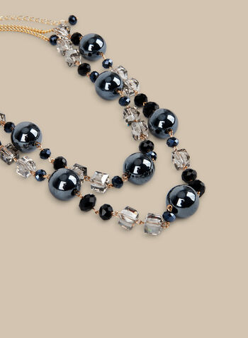 Short Stone & Cube Necklace, Black,  necklace, short necklace, stones, rhinestones, spring 2020, summer 2020