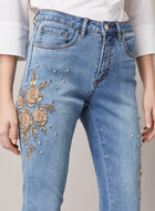 Joseph Ribkoff - Crystal Detail Embroidered Jeans, Blue