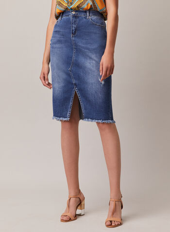 Frayed Hem Denim Skirt, Blue,  skirt, denim, fray, pockets, distressed, spring summer 2020