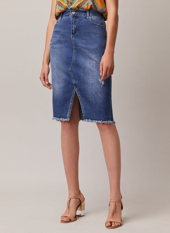 Frayed Hem Denim Skirt, Blue