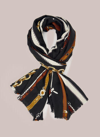 Belt Print Scarf, Black,  scarf, belt print, fall winter 2020