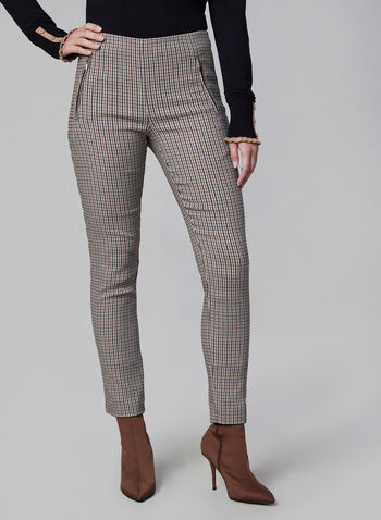 Houndstooth Print Pants, Brown,  ankle pants