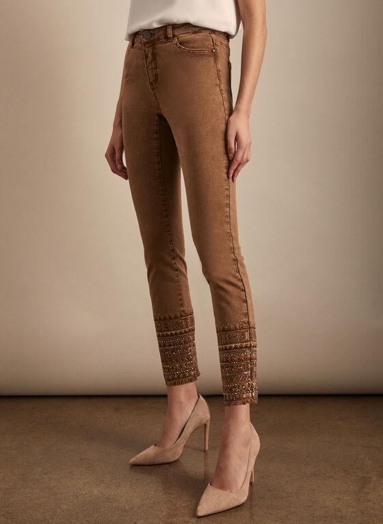 Embellished Hem Slim Leg Jeans, Brown