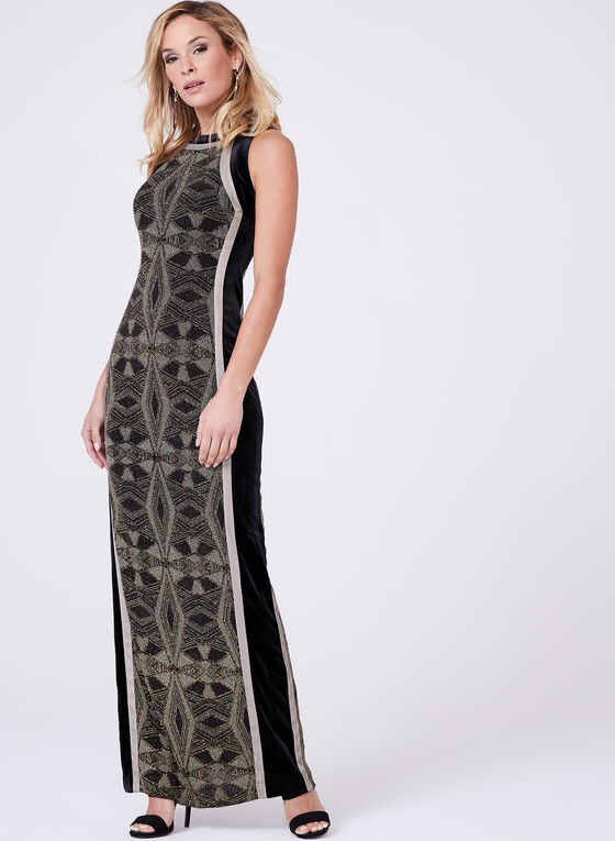 Velvet & Metallic Knit Gown, Black, hi-res