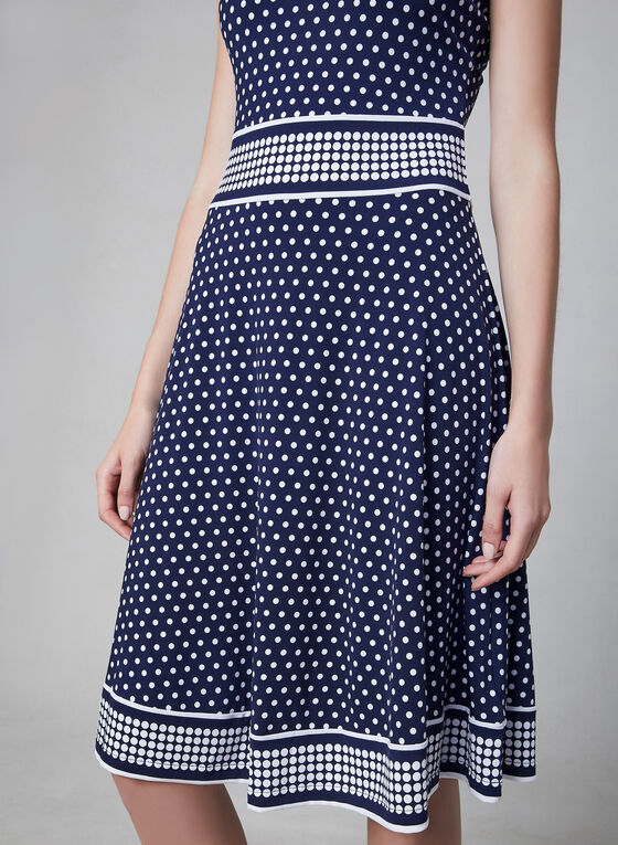 Polka Dot Print Jersey Dress, Blue
