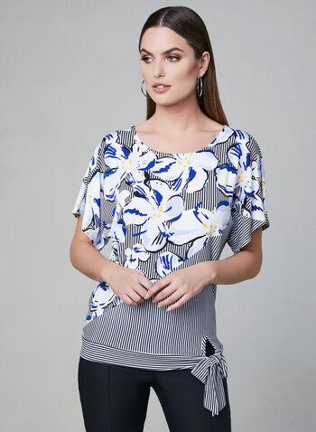 Haut noué à fleurs et rayures, Bleu,  manches courtes, printemps 2019, motif, jersey
