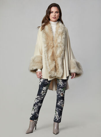 Joseph Ribkoff - Faux Fur Cape, Off White,  Joseph Ribkoff, cape, faux fur, fall 2019, winter 2019