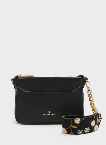 CÉLINE DION - Saffiano Bag With Embroidered Shoulder Strap, Black, hi-res