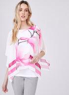 Blouse poncho fleurie à manches kimono, Blanc, hi-res