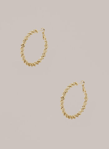 Stacked Golden Hoop Earrings, Gold,  Fall winter 2020, jewellery, earrings, metallic, stone, accessories, hoop, gold