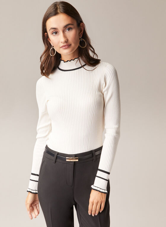 Contrast Detail Mock Neck Sweater, White