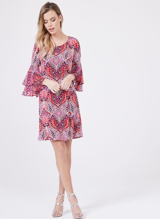 Sandra Darren - Paisley Print ¾ Bell Sleeve Dress, Red, hi-res