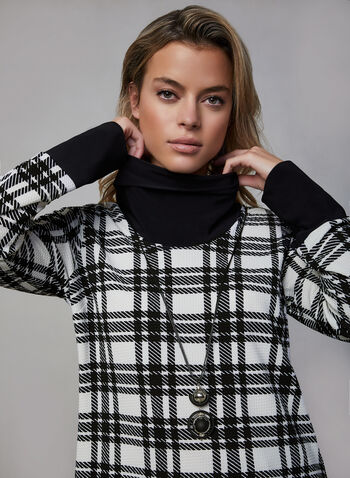 Frank Lyman - Plaid Print Top, Black,  fall winter 2019, plaid print, long sleeves, top, sweater, cowl neck