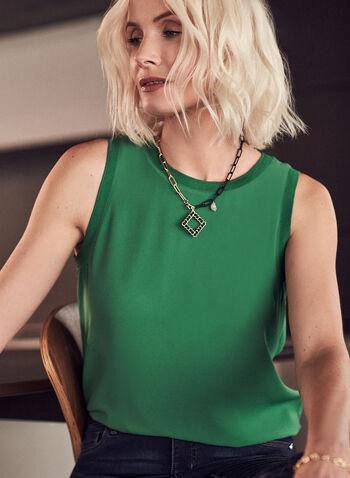 Sleeveless Crepe Blouse, Green,  top, blouse, crepe, layered, sleeveless, ribbed, spring summer 2021