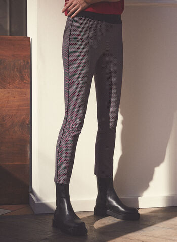 Geometric Print Pull-On Pants, Black,  pants, pull-on, elastic, contrast, piping, geometric, bengaline, spring summer 2021