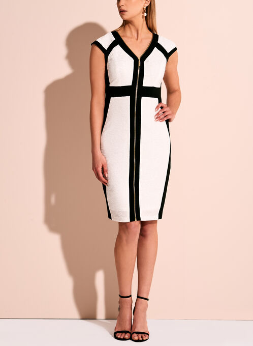 Jax Contrast Zipper Trim Dress, Off White, hi-res