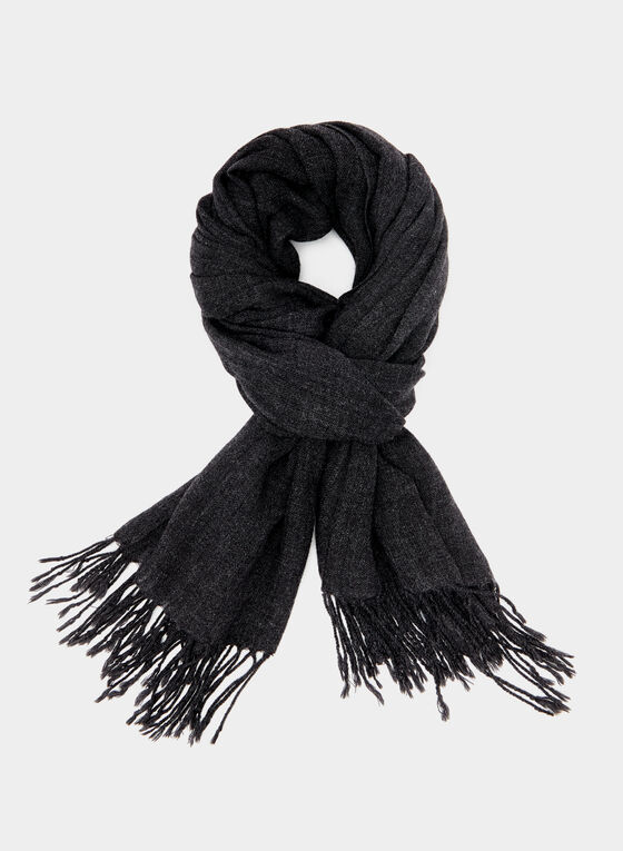 Twisted Fringe Scarf, Grey, hi-res