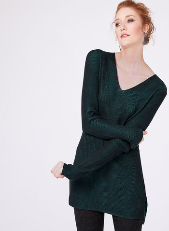 Long Sleeve Knit Tunic, Green, hi-res