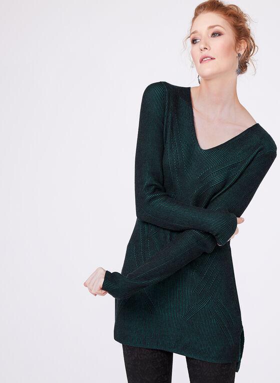 Pull en tricot texturé à manches longues, Vert, hi-res