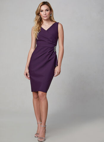 Alex Evenings - Crystal Embellished Sheath Dress, Purple, hi-res,  sleeveless, crystals, surplice neckline,